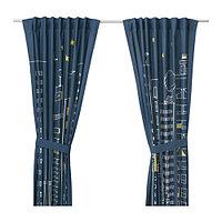 Гардина с прихватом ХЕММАХОС 1 пара темно-синий ИКЕА, IKEA, фото 1