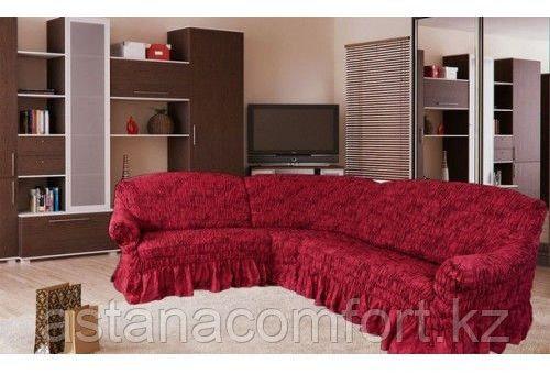 Натяжные чехлы на угловые диваны и кресла. Цвет - бордо