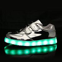 LED Кроссовки детские со светящейся подошвой, серебро низкие