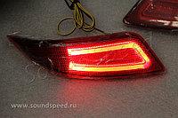 Задние диодовые вставки в бампер на Camry V55 2014-17 (2 режима)