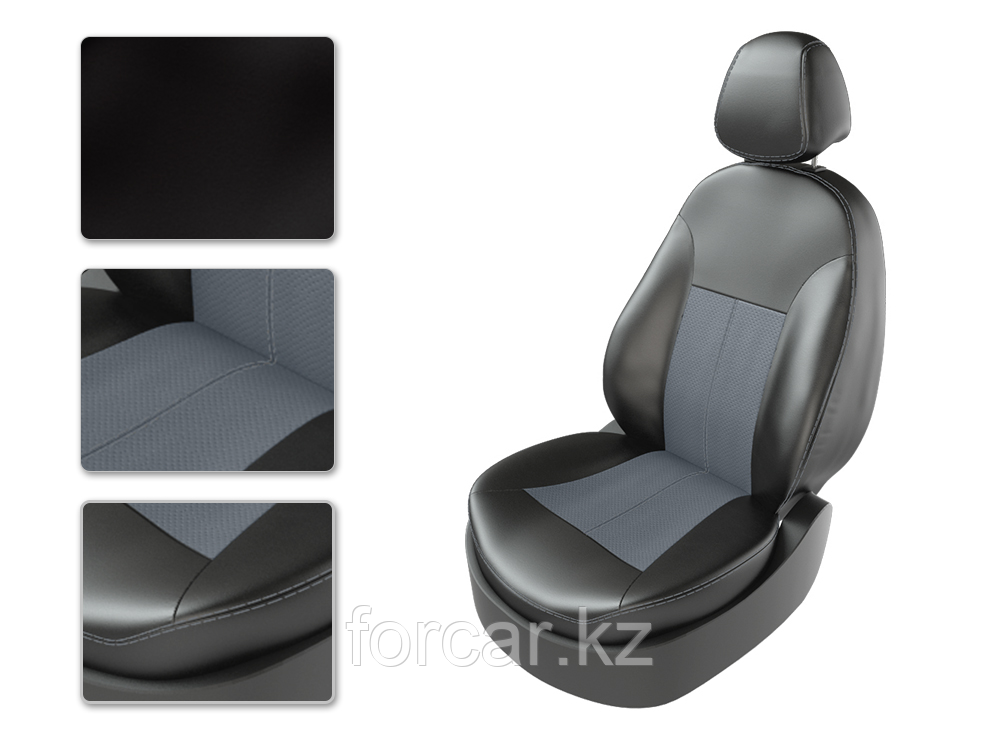 Чехлы модельные TOYOTA RAV 4 2014г черный/замш серый/серый