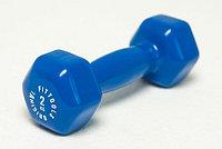 Гантель в виниловой оболочке 2 кг (Цвет - синий), фото 1