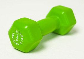 Гантель в виниловой оболочке 3 кг (Цвет - зеленый)