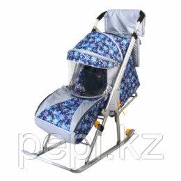 Санки - коляска Галактика Детям Снежинки на синем