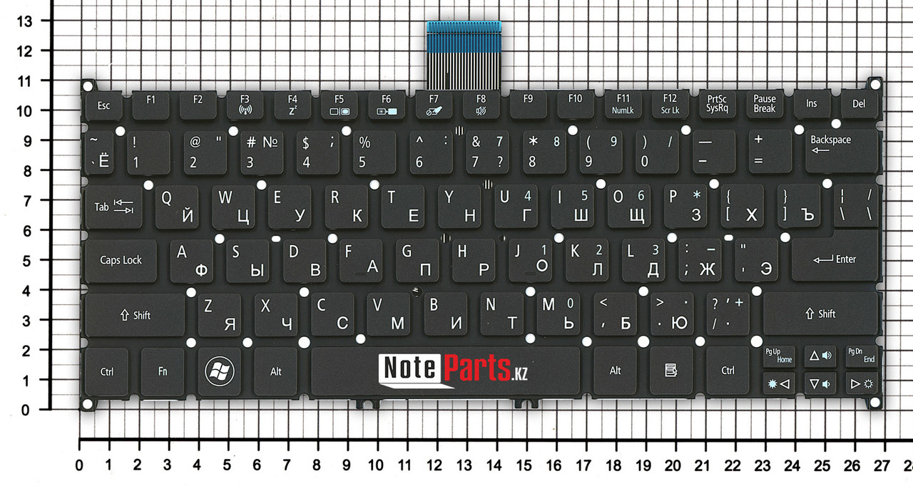 Клавиатура для ноутбука Acer Aspire S3/ S5/ One 756/ TravelMate B1, RU, черная
