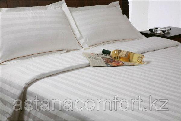 Белый гостиничный комплект постельного белья из сатина. 1.5-ка. Турция.