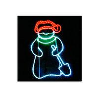 """Новогодняя иллюминация (светодиоидное панно) """"Снеговик с лопатой"""", 94х63см"""