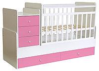 Детская кровать-трансформер Фея 1100 (белый-розовый), фото 1