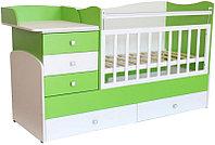 Детская кровать-трансформер Фея 1400 00-53907 (белый-лайм), фото 1