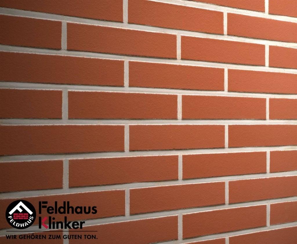 """Клинкерная плитка """"Feldhaus Klinker"""" для фасада и интерьера R400 carmesi liso"""