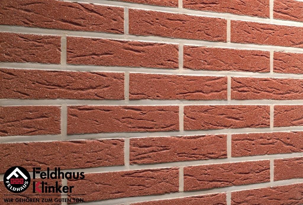 """Клинкерная плитка """"Feldhaus Klinker"""" для фасада и интерьера R435 carmesi mana"""