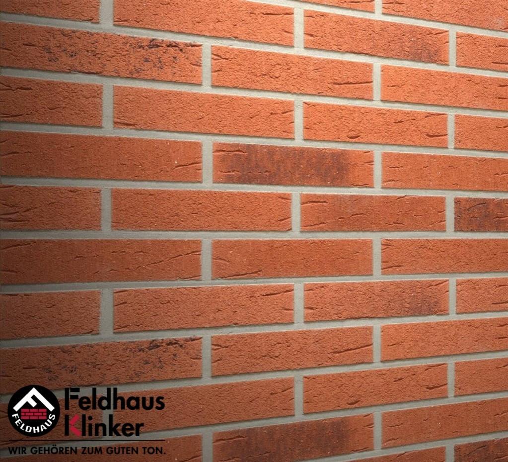 """Клинкерная плитка """"Feldhaus Klinker"""" для фасада и интерьера R488 terreno rustico carbo"""