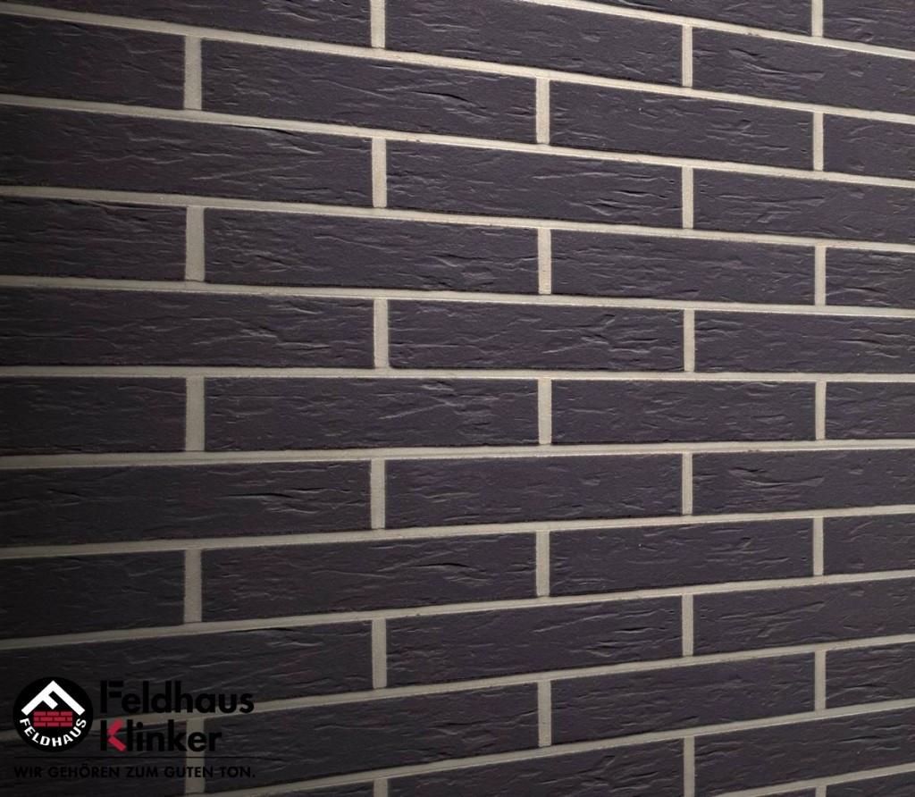 """Клинкерная плитка """"Feldhaus Klinker"""" для фасада и интерьера R740 anthracit senso"""