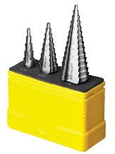 """Набор STAYER """"MASTER"""": Ступенчатые сверла по сталям и цвет.мет., сталь HSS, d=4-12мм,5 ступ. d 4-20 мм 9 ступ., d 4-30мм 14ступ."""
