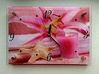 """Часы-картина настенные """"Оттенки розового"""",стекло"""