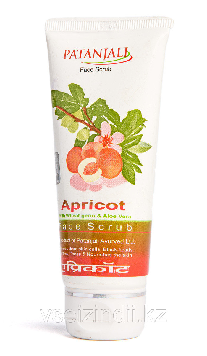 "Скраб для лица ""Абрикос"", 60 гр., производитель ""Патанджали"", Apricot Face Scrub, 60 gm. Patanjali"
