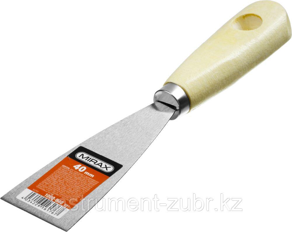 Шпатель стальной 40 мм, деревянная ручка, MIRAX