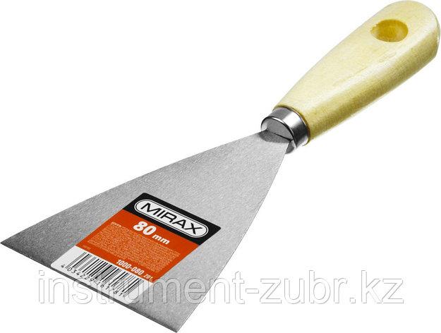 Шпатель стальной 80 мм, деревянная ручка, MIRAX, фото 2
