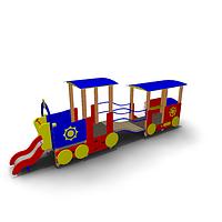 Детское Игровое оборудование «Паровозик с  вагончиком» Размеры 6150х1185х2050мм