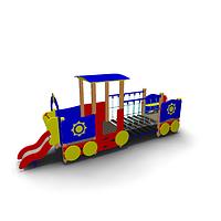 Детское Игровое оборудование «Паровозик с открытым вагончиком» Размеры 5380х1185х2050мм