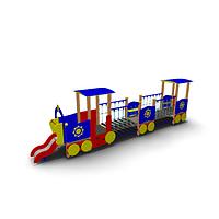 Детское Игровое оборудование «Паровозик длинный с  открытым вагончиком» Размеры 7780х1185х2050мм