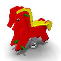 Детская Качалка на одинарной пружине «Конь» для улицы Размеры: 785 x 410 x 745мм