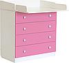 Пеленальный комод Фея 1580 белый-розовый