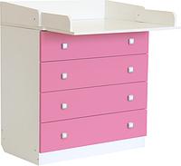 Пеленальный комод Фея 1580 белый-розовый, фото 1