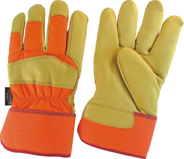 Комбинированные перчатки из кожи
