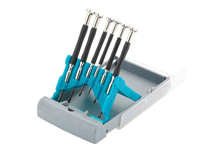 (13346) Набор отверток для точной механики, CrMo, метал.обрезин. рукоятки,  6шт., бокс - трансформер