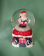"""Новогодний шар со снегом """"Дед мороз на домике"""", фото 1"""