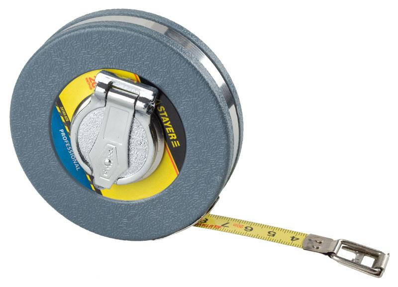 """(34169-020) Мерная лента STAYER """"PROFI"""", стальное полотно, ударопрочн. пластмасс.корпус, 20мх13м"""