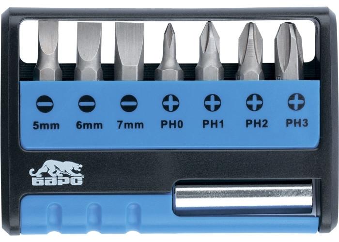 (13357) Набор бит с магнитным держателем, 8 шт.//БАРС