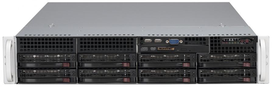 Сервер Supermicro CSE-825TQ-R802/X10DRL/2xE5-2667v4/128GB ECC/LSI 9260/2x300GB/4xSSD 480GB/2*800W