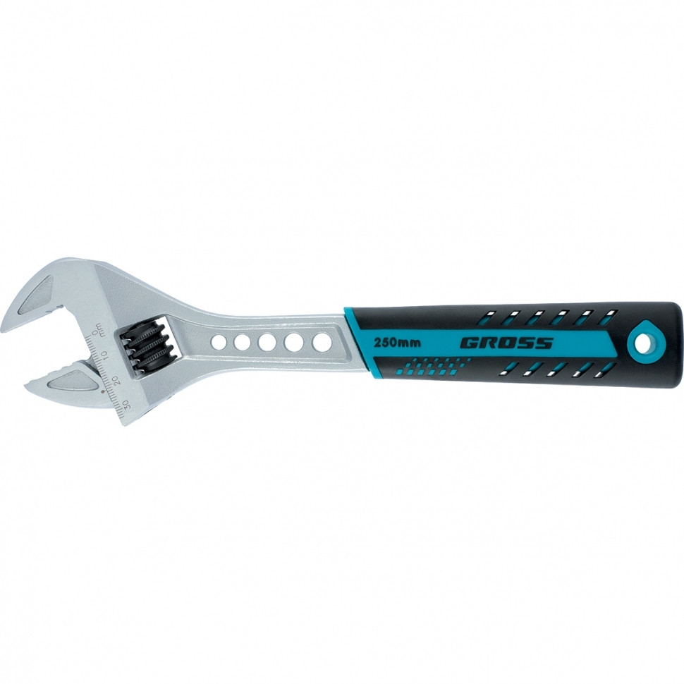 (15561) Ключ разводной, 200 мм,CrV, двухкомпонентная ручка //GROSS