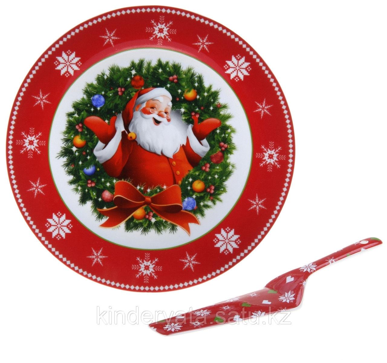 """Тортовница d=27 см с лопаткой """"Дед Мороз"""""""