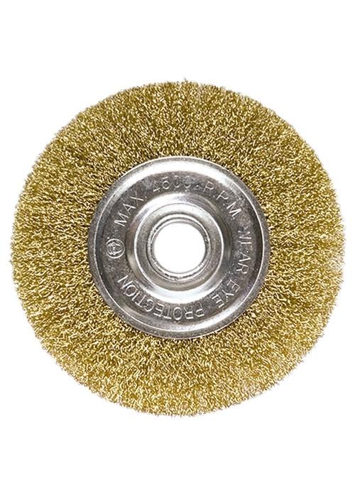 (74656) Щетка для УШМ, 125 мм, посадка 22,2 мм, плоская, латунированная витая проволока // MATRIX