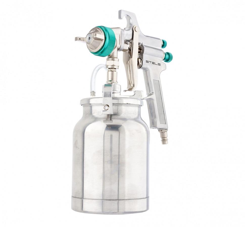 (57364) Краскораспылитель AS 702 НP  профессиональный, всасывающего  типа, сопло 1,8 мм и 2,0 мм //STELS