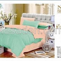 Комплект постельного белья однотонный персиково-зеленый 2,0 спальный