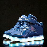 LED Кроссовки детские со светящейся подошвой, классические высокие, синие, фото 1