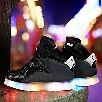 LED Кроссовки детские со светящейся подошвой, классические черные высокие, фото 1