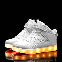 LED Кроссовки детские со светящейся подошвой, классические белые высокие, фото 1