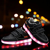 LED Кроссовки детские со светящейся подошвой, классические черные, низкие