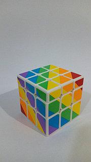 Кубик  зеркальный 3х3х3 Moyu Youngjun Inequilaterial радуга черн и син