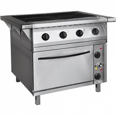 Плита электрическая 4-конфорочная с жарочным шкафом ПЭП-0,48-ДШ-Н-01 (вся нерж, духов шкаф черн металл) (840(1