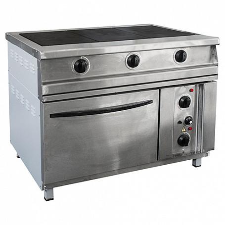 Плита электрическая 3-х конфорочная напольная с жарочным шкафом ПЭП-0,51М-ДШ-Н (вся нерж)(1095х860х860(880)мм,