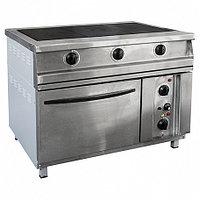 Плита электрическая 3-х конфорочная напольная с жарочным шкафом ПЭП-0,51М-ДШ (лицо нерж) (1095х860х860(880)мм,