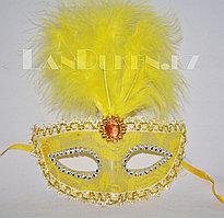 Венецианская маска Коломбина с перьями (желтая)