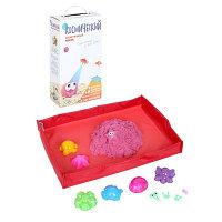 Космический песок розовый, 2 кг + песочница + формочки (коробка)