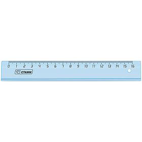 Линейка 16 см Cristal, миллиметровая шкала, закругленные углы